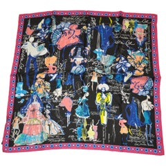 "Christian LaCroix Bold Whimsical Multi-Color ""History of LaCroix"" Silk Scarf"