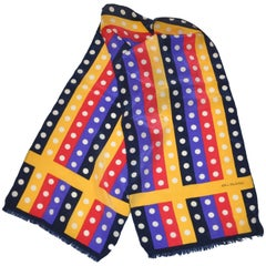 "Bill Blass Bold Multi-Color ""Multi-Stripes & Polka Dots"" Fringed Silk Scarf"