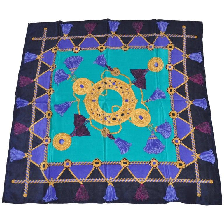 "Liz Claiborne Multi-Color ""Jewel with Multi-Color Fringes"" Silk Scarf For Sale"