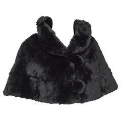 Black Shearling Capelet Stole with Shawl Collar, 1950s