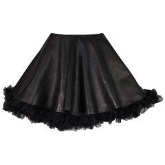 Circa 1994 Gianni Versace Black Leather A-Line Micro Mini High Waist Skirt