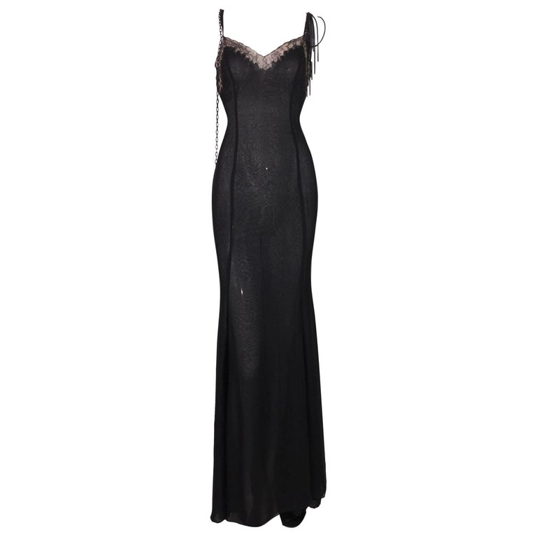 2004 Versace Black Sheer Plunging Chain Embellished Gown Dress w Train For Sale