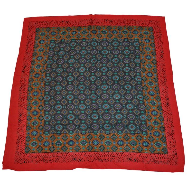 Multi-Color Red & Black Leopard Border & Multi Palsey Center Cotton-Blend Scarf For Sale