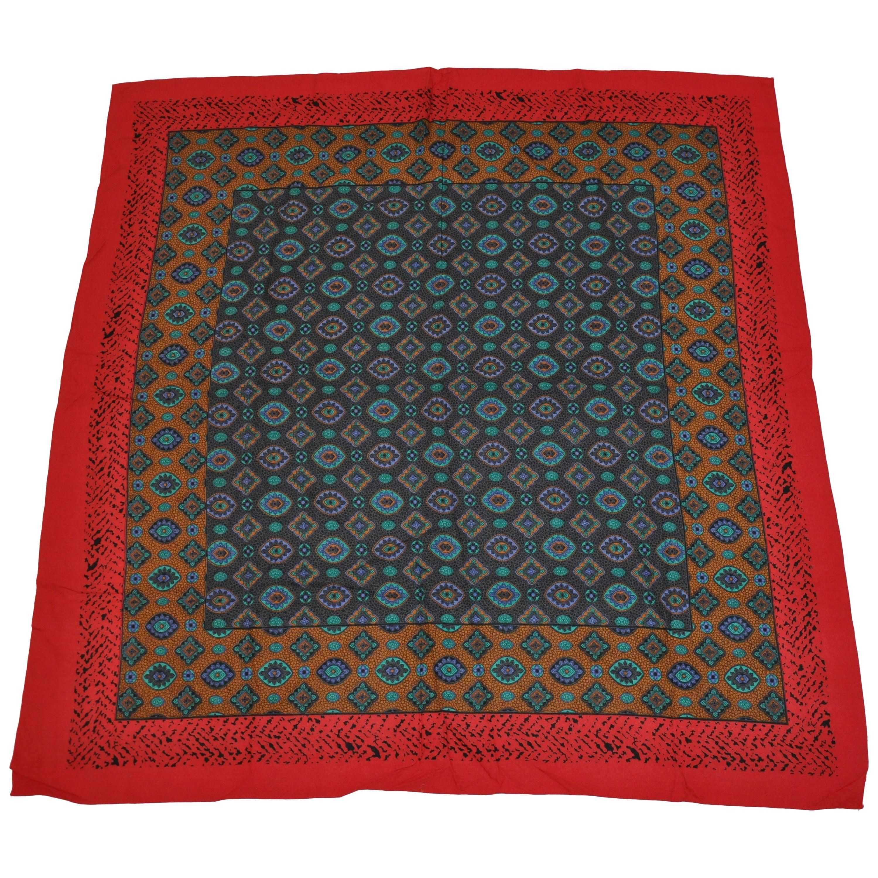 Multi-Color Red & Black Leopard Border & Multi Palsey Center Cotton-Blend Scarf