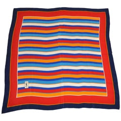 Yves Saint Laurent Multi-Color Multi-Sized Striped Silk Scarf