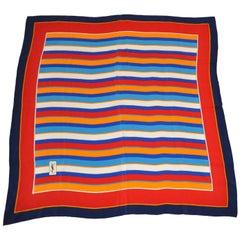 Yves Saint Laurent Multi-Color Multi-Sized Striped Silk Scarf