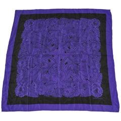 "Adrienne Vittadini Elegant Deep Violet & Blue ""Bundle of Florals"" Silk Scarf"