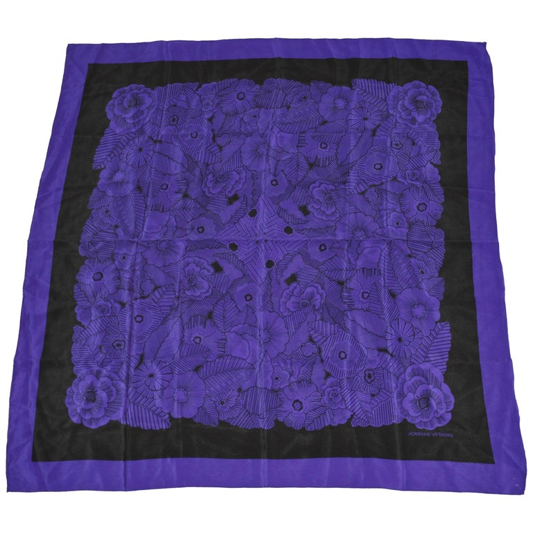 "Adrienne Vittadini Elegant Deep Violet & Blue ""Bundle of Florals"" Silk Scarf For Sale"