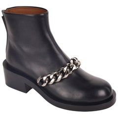 Givenchy Womens Black Leather Laura Chain Detail Boots