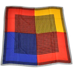 "Liz Claiborne Gray Borders with Vivid Multi ""Color Block"" Silk Scarf"