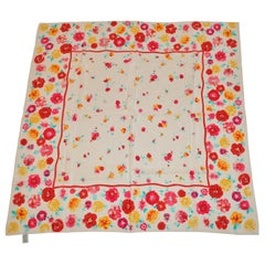 Laura Ashley Springtime Cream with Multi Colors of Florals Silk Scarf