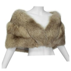 Plunging Taupe Fox Stole with Horizontal Pelts, 1950s