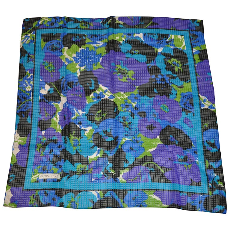 """Flora Kung Multi-Color & Metallic Gold Lame """"Rich Florals"""" Silk Chiffon Scarf For Sale"""