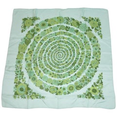 "Liberty of London Multi Shades of Greens ""Circular Trail of Florals"" Silk Scarf"