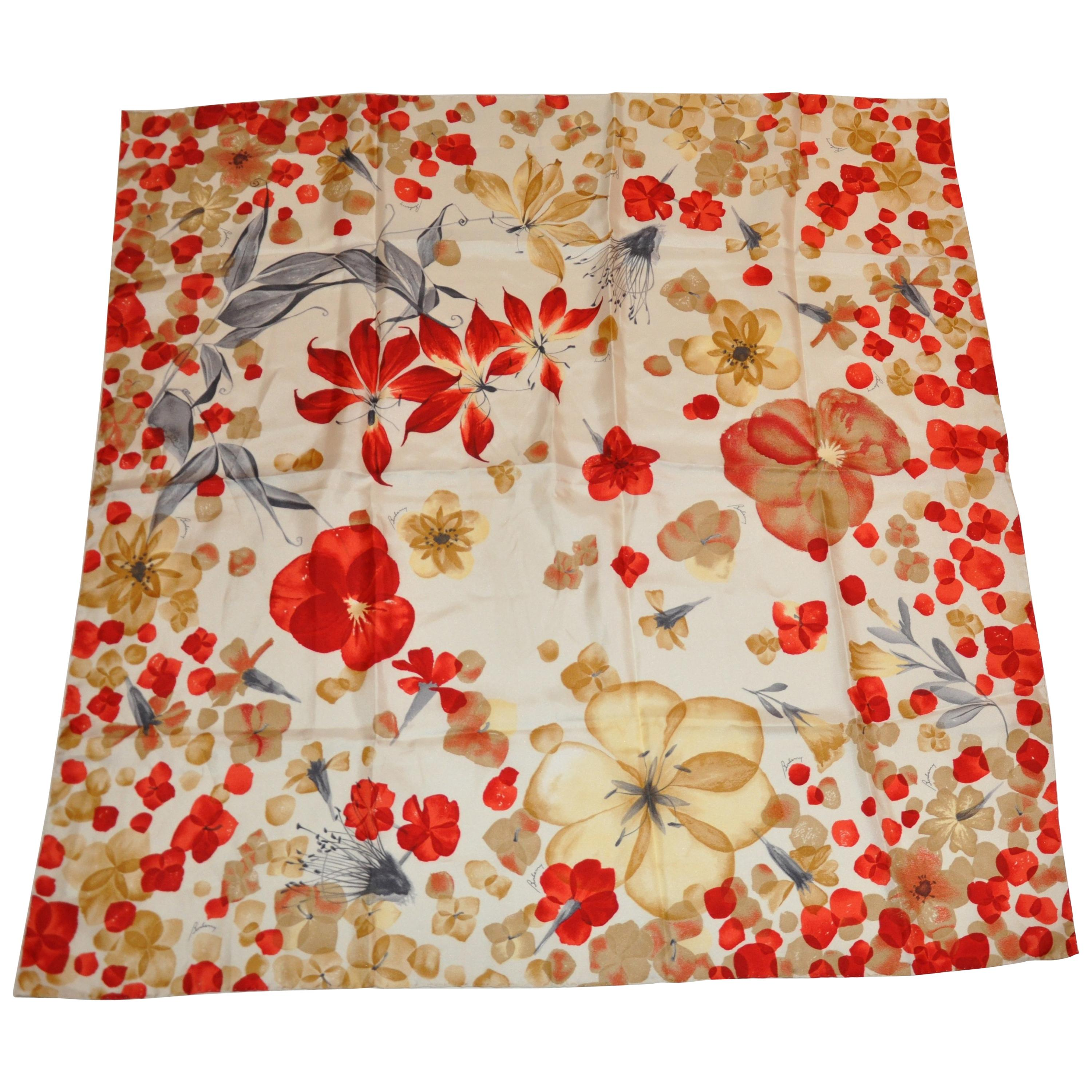 """Burberry Shades of Creams & Reds """"Scattered Florals"""" Silk Jacquard Scarf"""