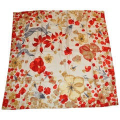 "Burberry Shades of Creams & Reds ""Scattered Florals"" Silk Jacquard Scarf"