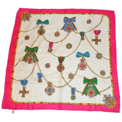 "Fuchsia Border & Ivory with Multi-Color ""Multi Royal Badges"" Silk Scarf"
