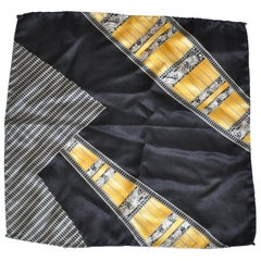 Majestic Gilded Gold with Black & Gray Detailed Silk Crepe di Chine Handkerchief