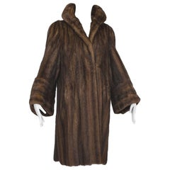 Mink Hollywood Regency Swing Coat with Art Deco Cuffs, 1940s