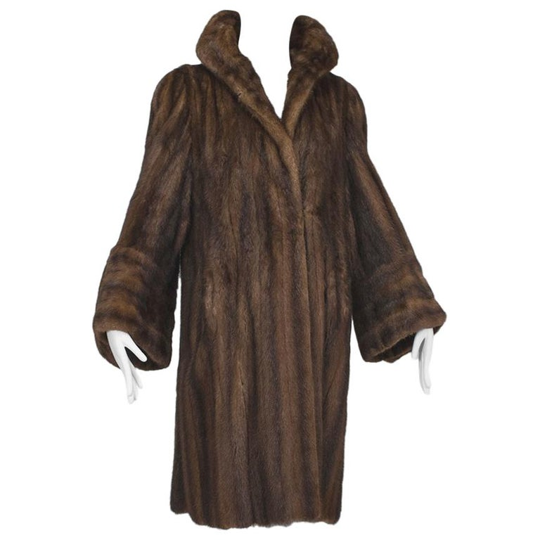 Mink Hollywood Regency Swing Coat with Art Deco Cuffs, 1940s For Sale
