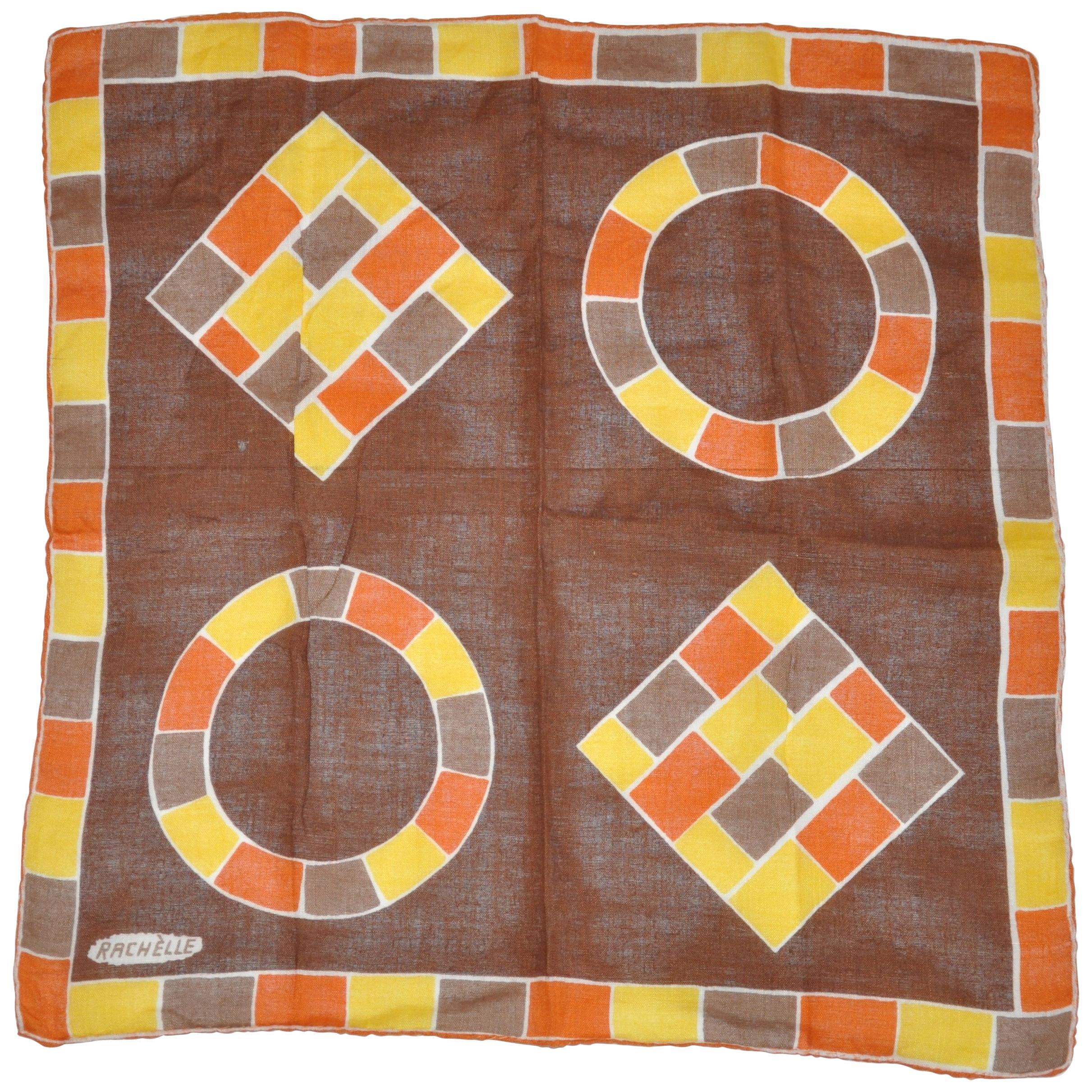 "Rachelle ""Autumn Shades Color Block"" Hand-Rolled Edges Swiss Cotton Handkerchief"