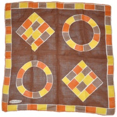 "Rachelle ""Autumn Shades Color Block"" Hand-Rolled Edges Swiss Cotton Handkerchief"
