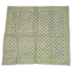 Olive-Green with Micro Florals and Hand-Rolled Edges Swiss cotton Handkerchief
