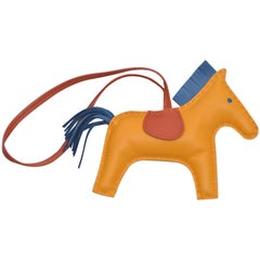 Hermes Rodeo Bag Charm GM Jaune Blue Bleu Rodeo Horse  NEW