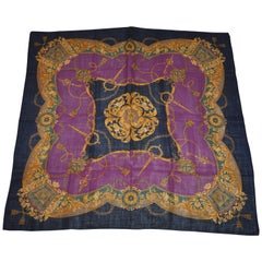 "Echo Huge Deep Violet & Black ""Royal Florals"" Wool Challis Scarf & Shawl"