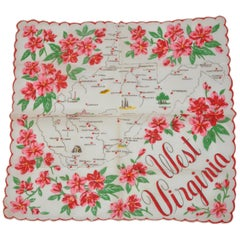 """West Virginia"" Cream with Red Florals Area Map Scalloped Cotton Handkerchief"