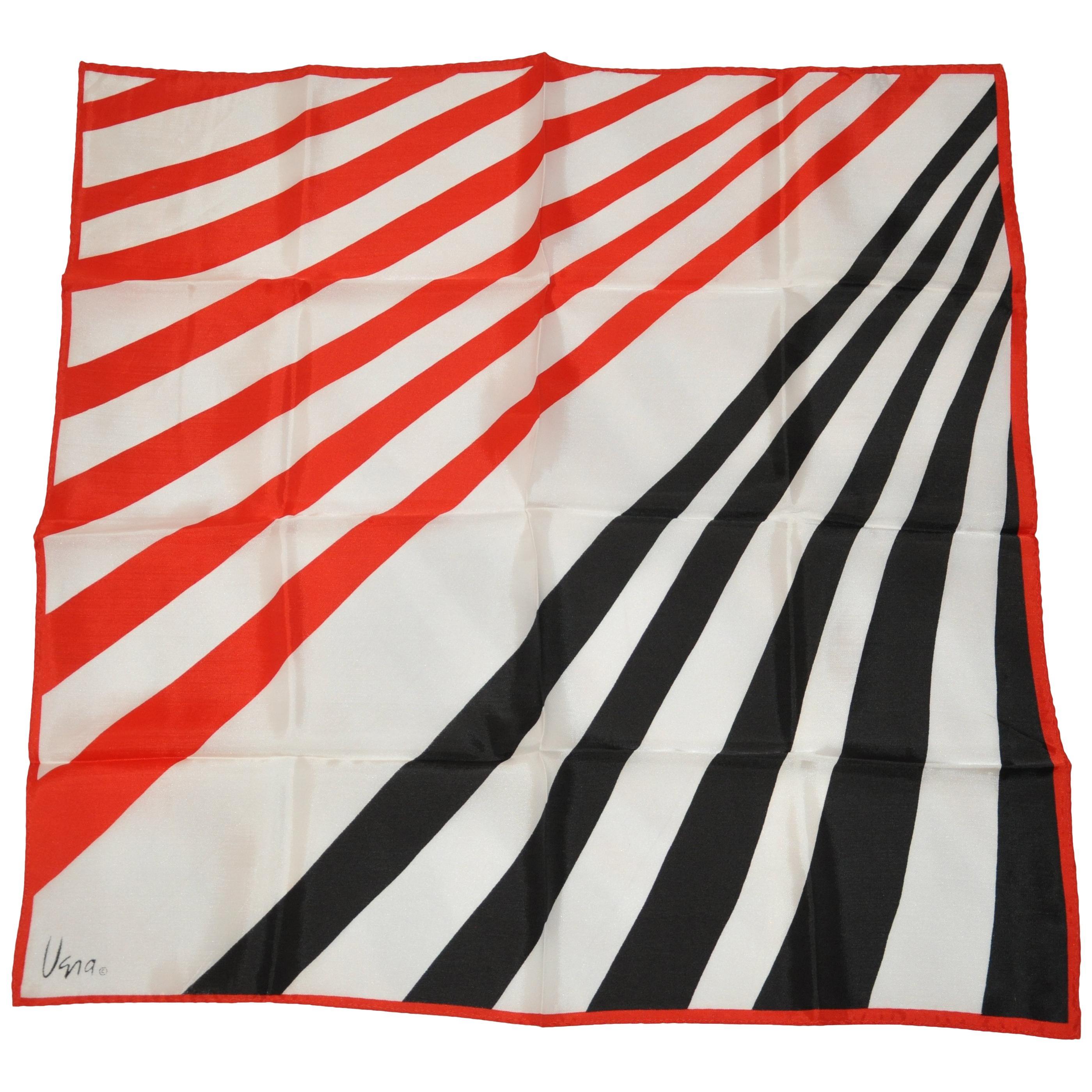 Vera Bold Patriotic Red White & Blue Multi-Striped Scarf