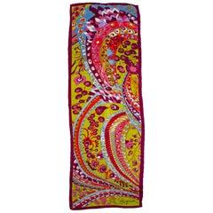 Schiaparelli Pop Art Psychedelic Silk Foulard Scarf, 1960s