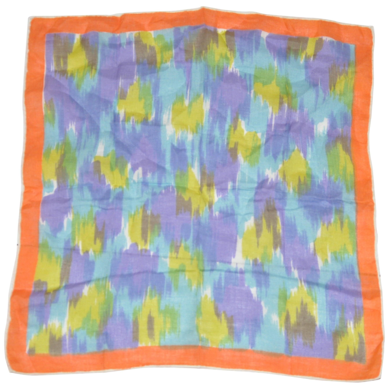 "Festival Multi-Color ""Brush Strokes"" Cotton Hand-Rolled Edges Handkerchief"