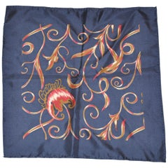 "Midnight Blue Silk Jacquard ""Single Floral & Vines"" Hand-Rolled Handkerchief"