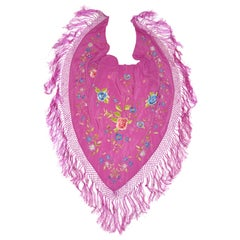 Fuchsia with Multi-Color Hand-Embroidered Florals Multi-Tier Silk Fringe Scarf