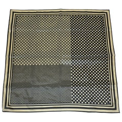 Vera Black & Taupe Multi-Size Polka Dots and Multi-Size Stripes Scarf