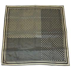 Vera Black & Taupe Multi-Size Polka Dots and Multi-Size Stripes Scarf