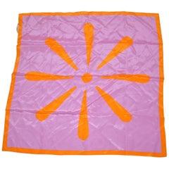 "Isaac Mizrahi Whimsically Bold Lavender & Tangerine ""Starburst"" Silk Scarf"