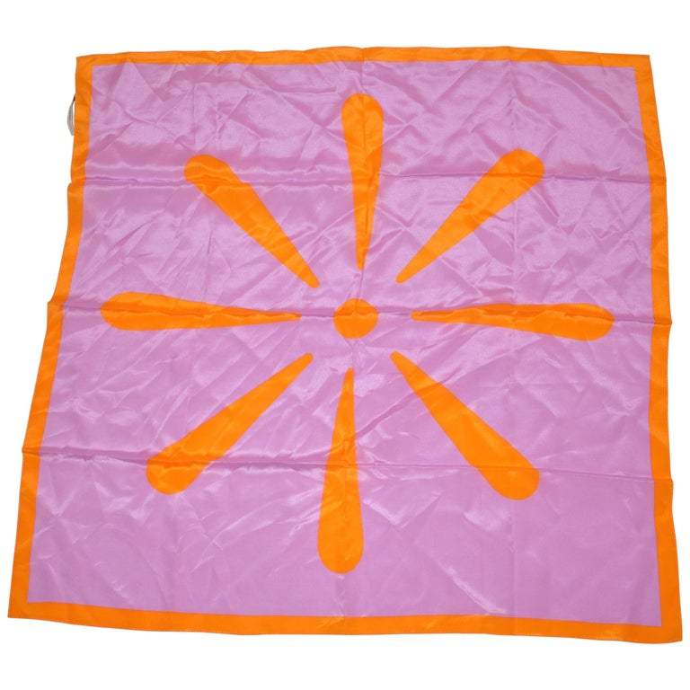 "Isaac Mizrahi Whimsically Bold Lavender & Tangerine ""Starburst"" Silk Scarf For Sale"