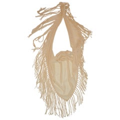 Bottega Veneta Cream Woven Cashmere and Mohair Deconstructed Fringed Scarf