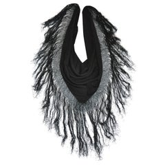 Huge Black Wool with Multi-Tier Hand-Knotted Silk Fringed Scarf & Optional Shawl