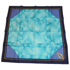 "Cartier ""Multi Facet Emerald"" with Midnight Blue Border Silk Jacquard Scarf"