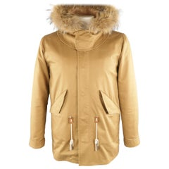 SANDRO L Tan Solid Cotton Hooded Jacket