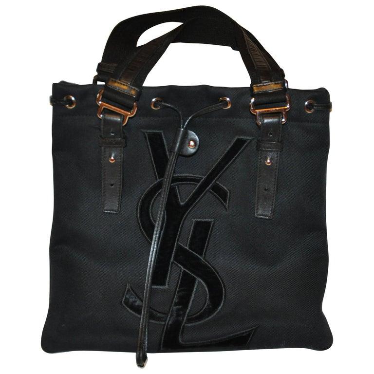 Yves Saint Laurent Signature Black Velvet Monogram Adjustable Double Handle Tote For Sale