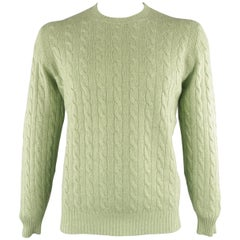 BRUNELLO CUCINELLI Size 42 Green Cable Knit Cashmere Sweater