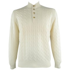 BRUNELLO CUCINELLI Size 44 Cream Cable Knit Cashmere Henley Sweater