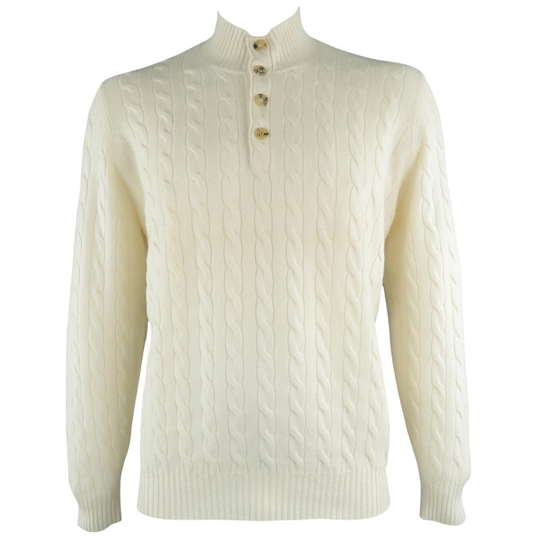 BRUNELLO CUCINELLI Size 44 Cream Cable Knit Cashmere Henley Sweater For Sale