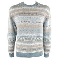 LORO PIANA Size 44 Blue Fairisle Cashmere Sweater