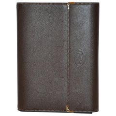 Cartier Signature Monogram Textured Coco-Brown & Gold Hardware Covered Notebook