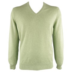 BRUNELLO CUCINELLI Size 44 Green Knitted Cashmere V-neck Sweater